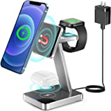 Aluminum Alloy 3 in 1 Magnetic Wireless Charger,15W Fast Wireless Charging Station for Magsafe Charger Stand iPhone 13,12,Pro