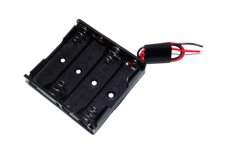 Arduino Shield –  pince pour batterie (4 piles AA, 1,5 V, 6 V, um-3 X 3), Couleur Noir 5V 6V um-3X 3) Unbranded/Generic