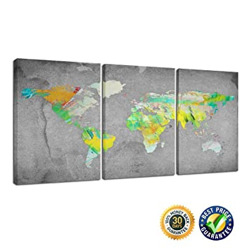 Amazon creative art 3 panel wall art vintage world map creative art 3 panel wall art vintage world map canvas prints framed and gumiabroncs Image collections