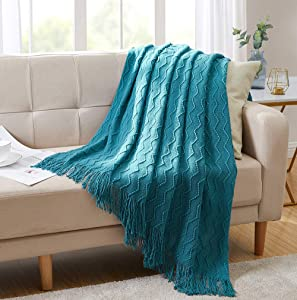 "BOURINA Throw Blanket Textured Solid Soft Sofa Couch Decorative Knitted Blanket, 50"" x 60"",Teal"