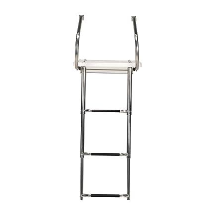 White 3-Step Telescop Ladder Boat Inboard Swim Ladder Stainless Rails