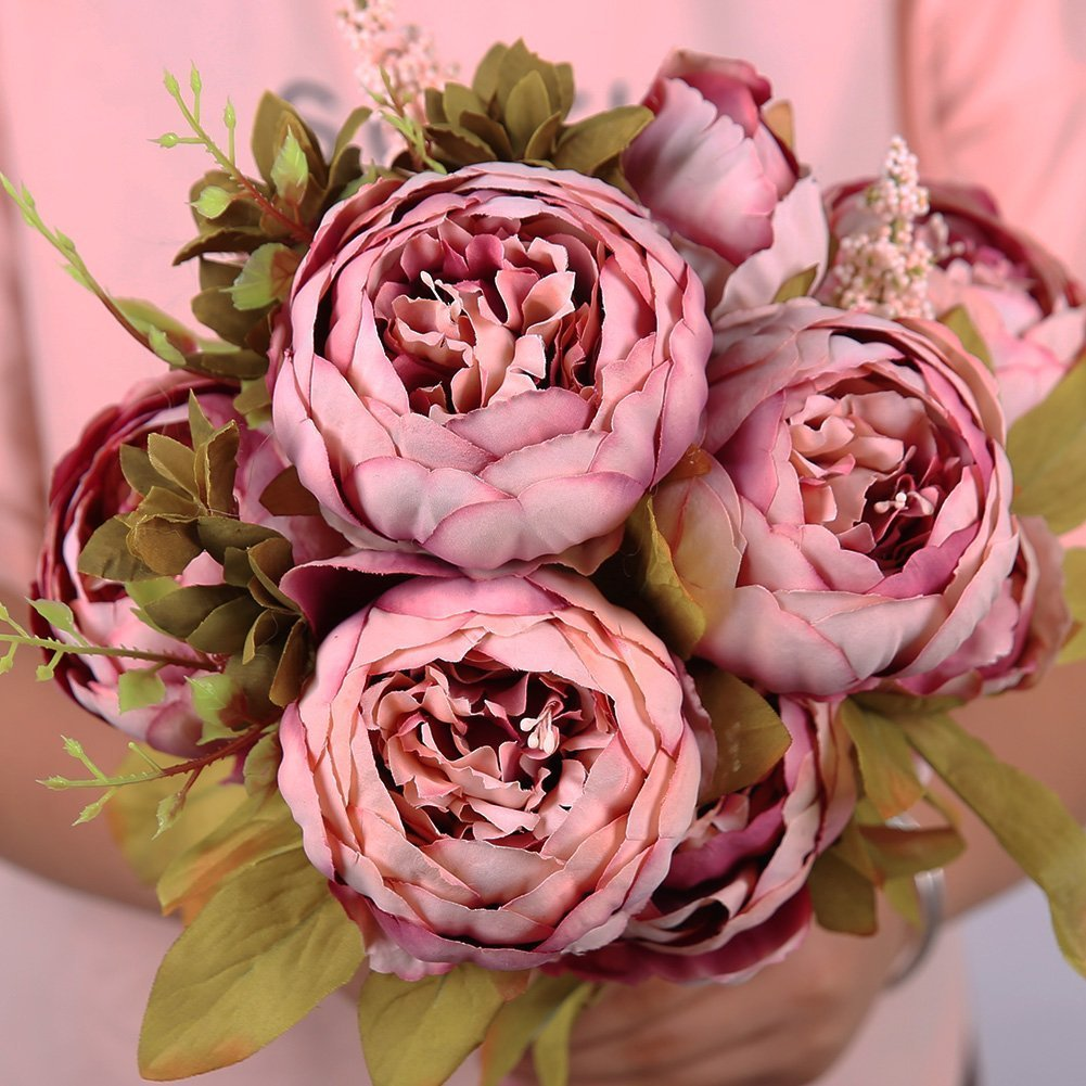 Vintage Artificial Peony Silk Flowers Bouquet Home Wedding ...