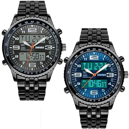 SunJas Reloj de pulsera para hombre Azul negro de acero inoxidable impermeable cronómetro, brilla en la oscuridad: Amazon.es: Relojes