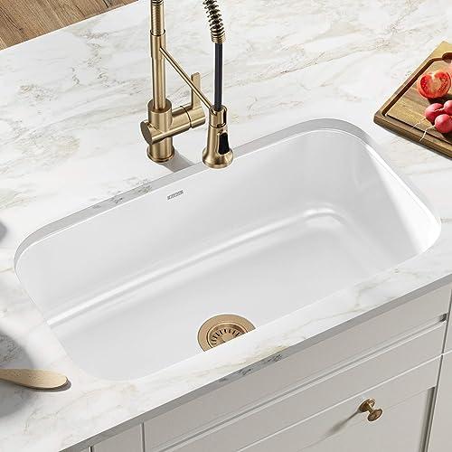 Kraus KEU-14WHITE Pintura 16 Gauge Undermount Single Bowl Enameled Stainless Steel Kitchen Sink, 31 1 2-inch, White