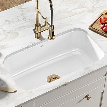 Kraus Keu 14white Pintura 16 Gauge Undermount Single Bowl Enameled Stainless Steel Kitchen Sink 31 1 2 Inch White Amazon Com