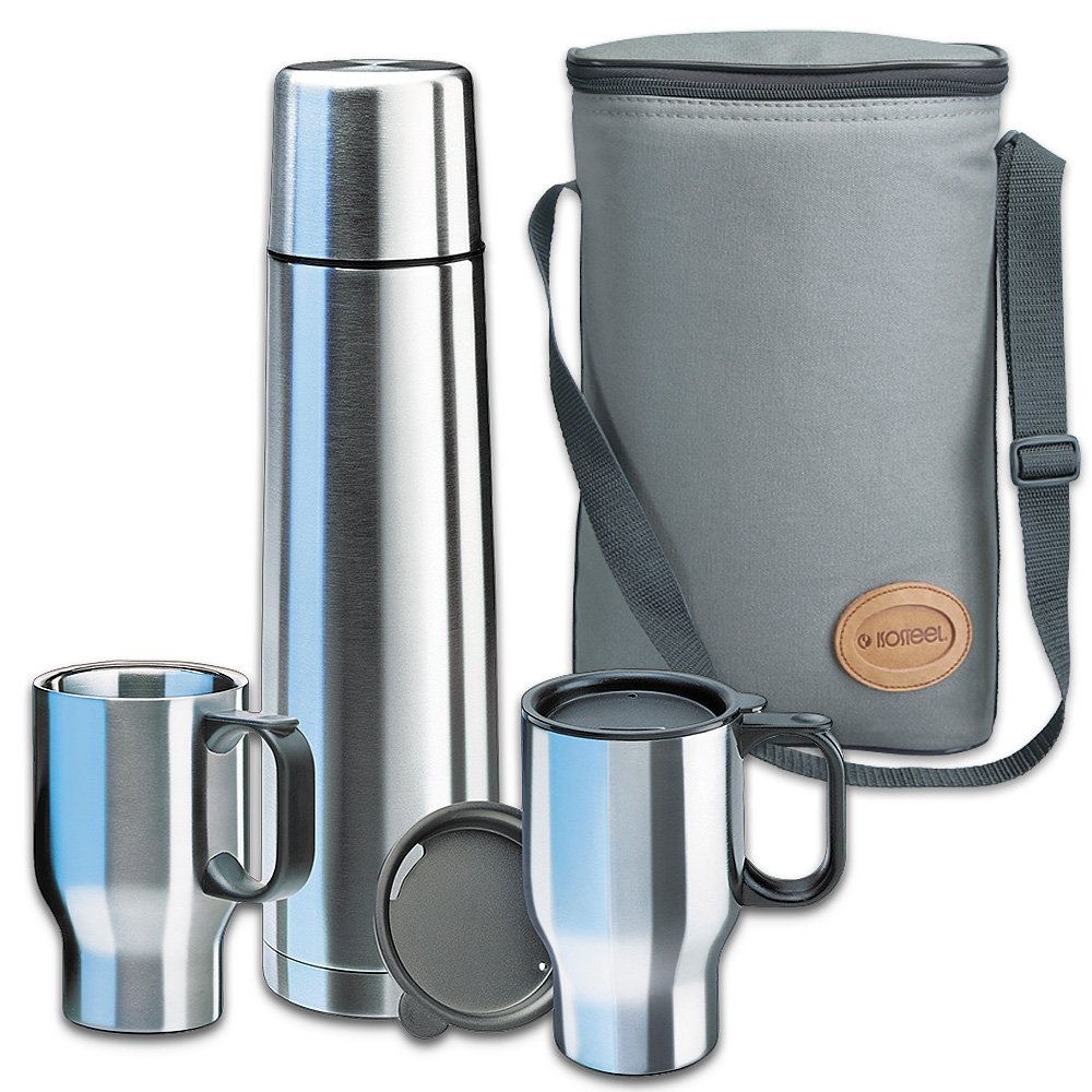 Isosteel 0.9 Litre Vacuum Flask/ Touring Set Pro Bag, Grey/ Silver