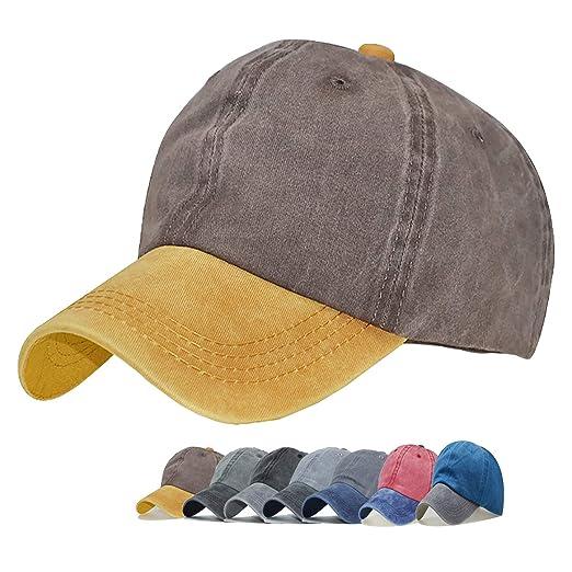 72b2d3190258f Clothing Guoo Vintage Washed Distressed Men Baseball Cap Dad Hat Cotton Pigment  Dyed Low Profile Denim Hat