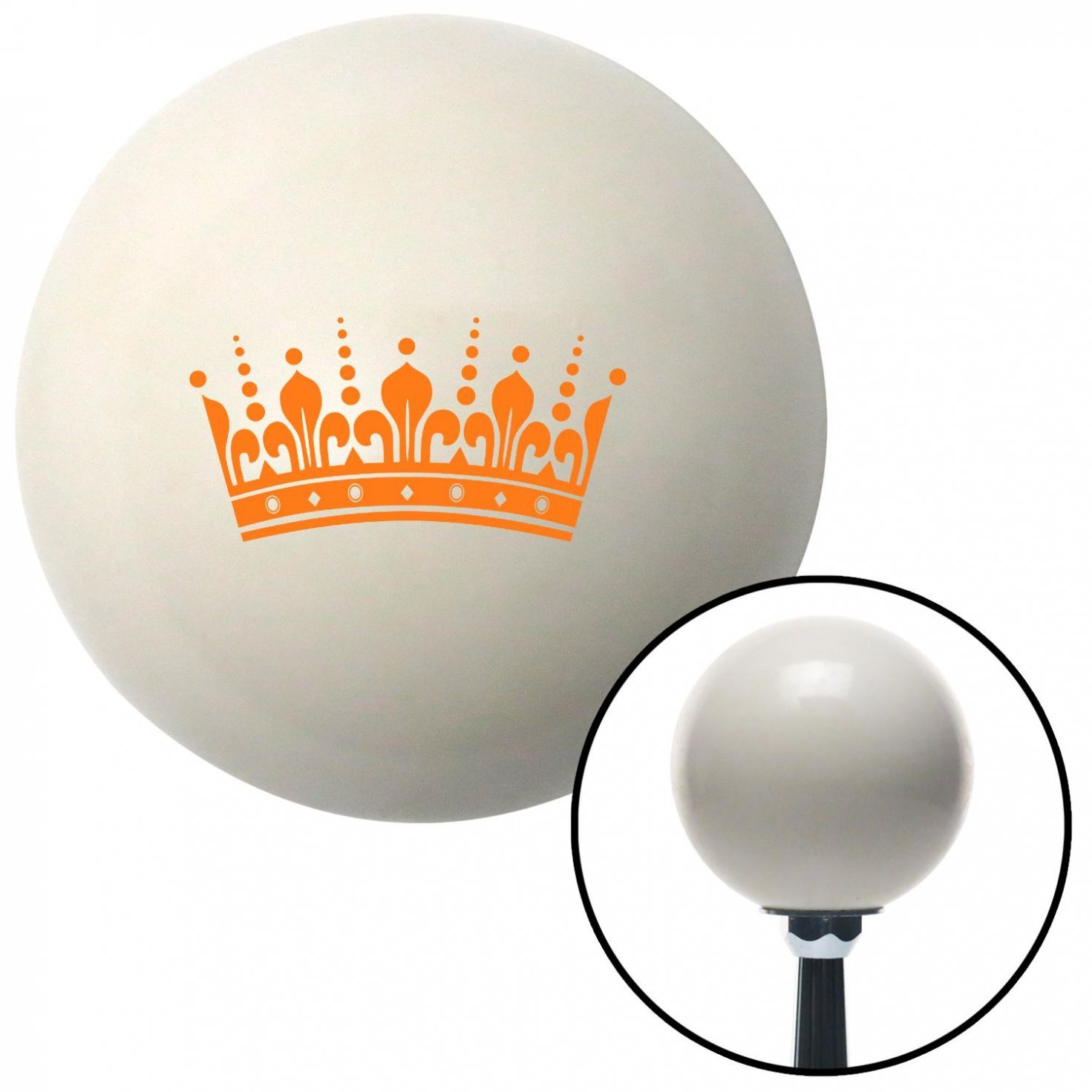 Orange Kings Crown American Shifter 30941 Ivory Shift Knob with 16mm x 1.5 Insert