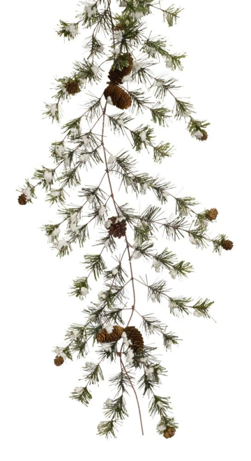 Pack of 4 Artificial Snowy Pine Cone Garland with Baby Pine Cones 6'