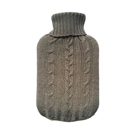 Nur Strickcover W/ärmflasche nicht inbegriffen TRIXES Strickbezug f/ür W/ärmflausche Beige