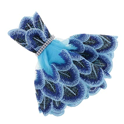 MagiDeal Vestido Azul de Pavo Real de Bordado Falda para Barbie Doll Decoración Ornamentos de Coche