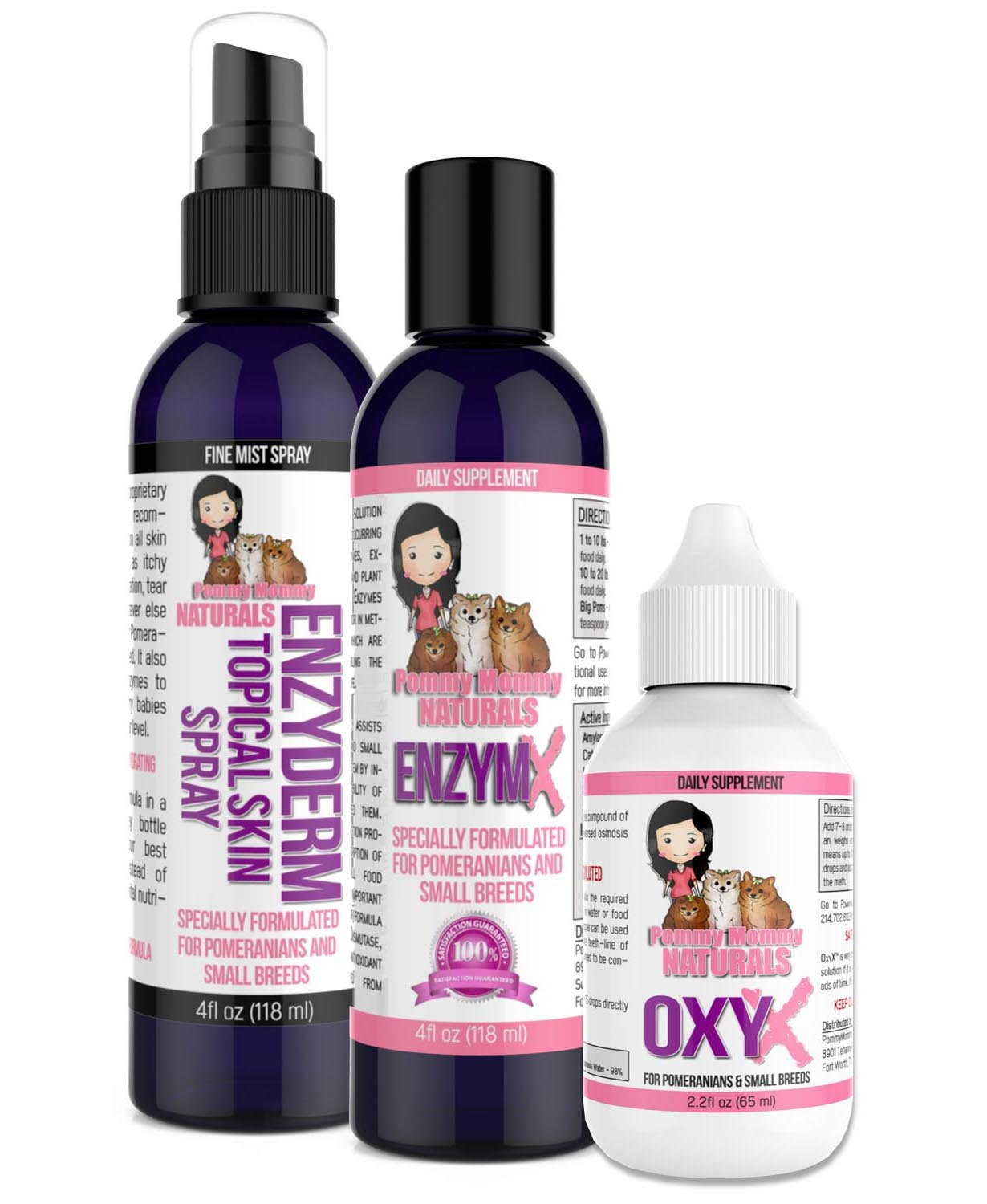 Pommy Mommy Naturals Skin PRO Pack - Our EZYDERM Anti-Itch Skin Spray, ENZYMX Antioxidant Enzyme Formula and OXYX Alkaline/PH Booster - to Help with All Your Dog's Skin Issues by Pommy Mommy Naturals