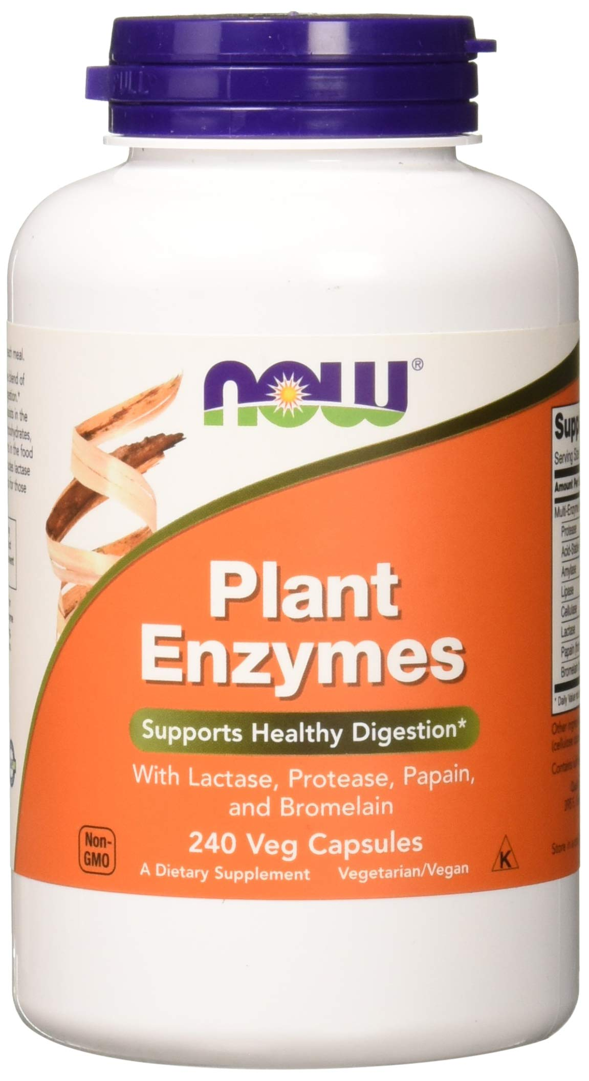 Now Supplements, Plant Enzymes with Lactase, Protease, Papain and Bromelain, 240 Veg Capsules