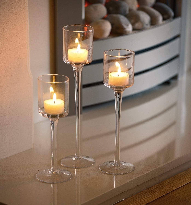 Set Of 3 Elegant Tea Light Glass Candle Holders Wedding Table Centrepiece Amazon Co Uk Lighting
