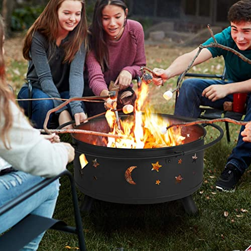 YAHEETECH Outdoor 30 Inch Fire Pit, Metal Firepit Bonfire Wood Burning Heater Stove Backyard Patio Garden Firepit for Outside with Spark Screen and Fireplace Poker, Stars and Moons Design Pattern