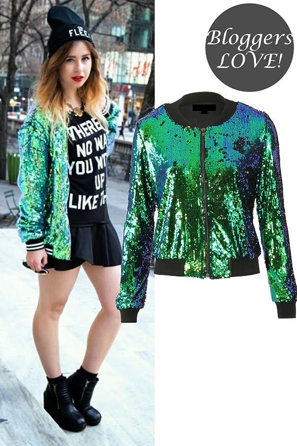 f3fbad84e Momo&Ayat Fashions Ladies Evening Sequin Bomber Jacket US Size 6-12