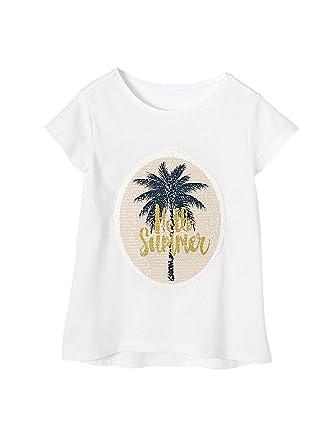 8068a30fc1727 Vertbaudet T-Shirt Fille Sequins réversibles Blanc Motif Palmier 5 A ...