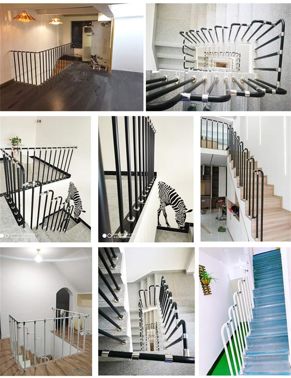 Cerca de barandilla de Tubo de Acero al Carbono Industrial para Viento Escalera Interior para el hogar YIKE-Pasamanos Barandilla de Escalera Negra con Forma de 7 D Puede Personalizarse