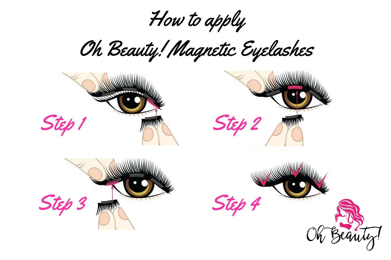 Oh Beauty! Triple Magnetic Eyelashes [No Glue] Premium Quality Reusable 3D Handmade False Eyelashes Set for Natural Look – Full Eye 3 magnets Ultra-Thin & Lightweight