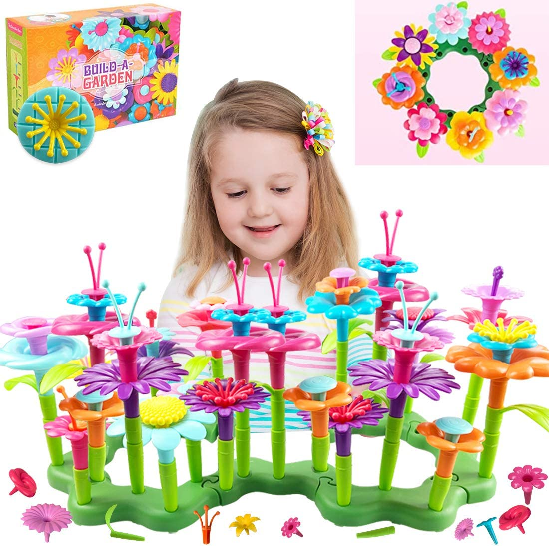 BATURU Flower Garden Building Toys 109pcs with Bag, STEM Educational Flower Toys and Girls Birthday Christmas Garden Building Gift for 3, 4, 5, 6 Year Old Toddlers and Kids