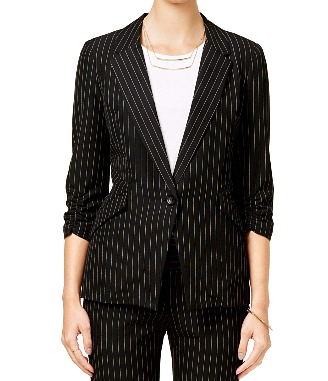 BCX Women's One-Button Pinstripe Ruch Sleeve Blazer