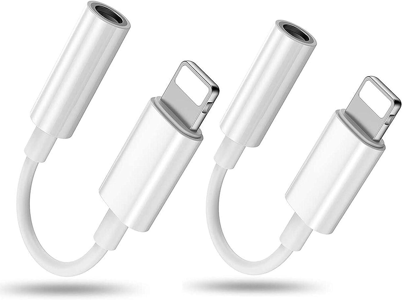 Tioofor [2 Pack] para iPhone Adaptador de Auriculares a dongles Adaptador de Conector de 3,5 mm Auriculares para iPhone 7/7 Plus/8/8 Plus/X/XR/XS/XS Max/11/11 Pro Compatible con Todos los iOS-Blanco