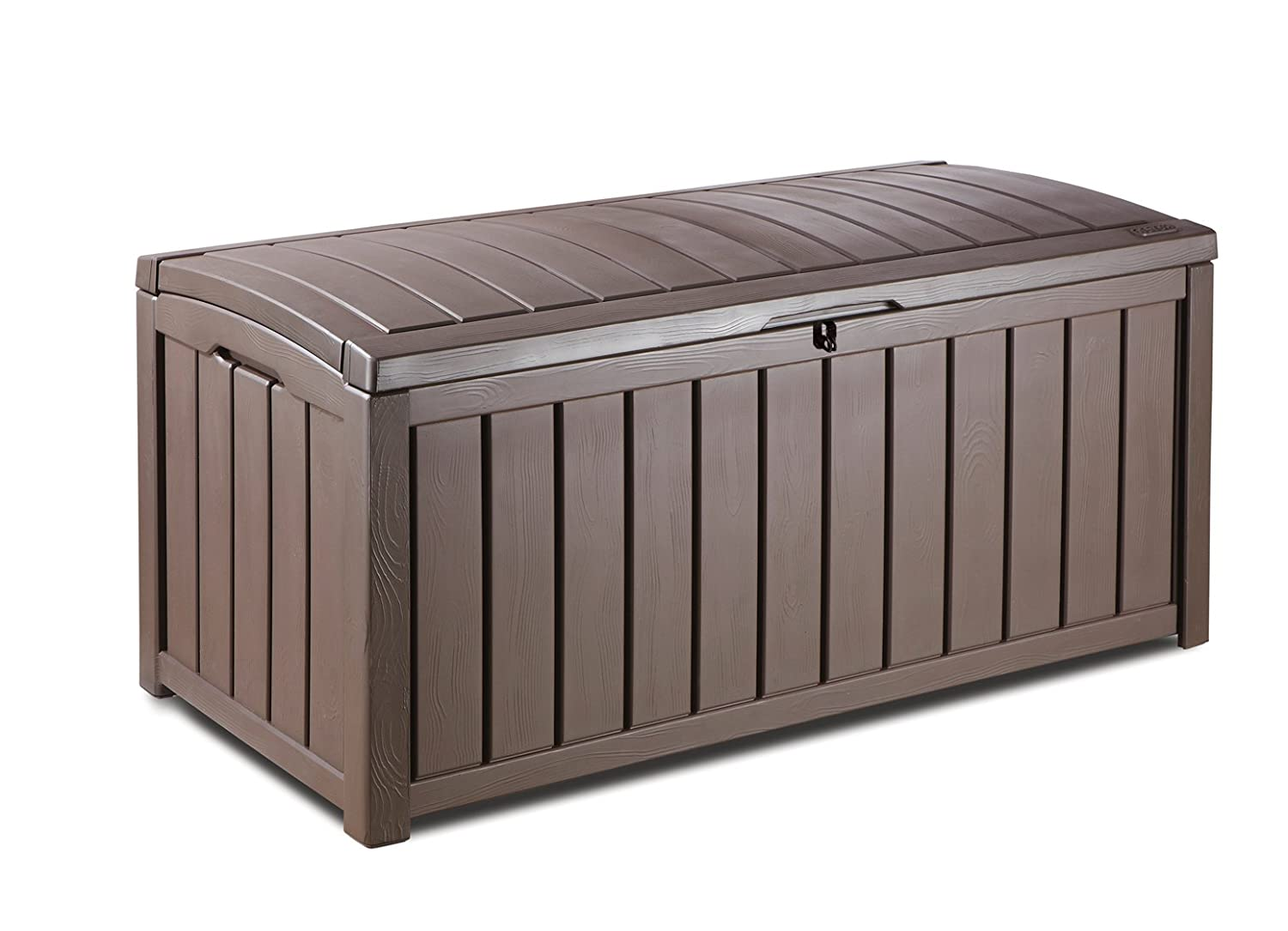 Keter Glenwood Plastic Deck Storage Container Box Outdoor Patio Furniture 101 Gal, Brown
