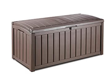 Keter Glenwood Plastic Deck Storage Container Box Outdoor Patio Furniture  101 Gal, Brown  Outdoor Patio Couch