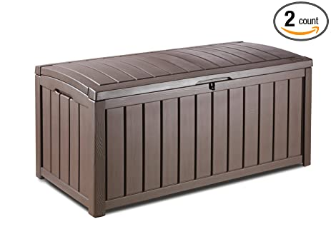 Keter Glenwood Plastic Deck Storage Container Box Outdoor Patio Furniture  MEgmLh, 2Pack (101 Gal