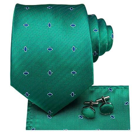 FDHFC Hombres De Seda Empate Dot Corbata Verde Corbata Mancuernas ...