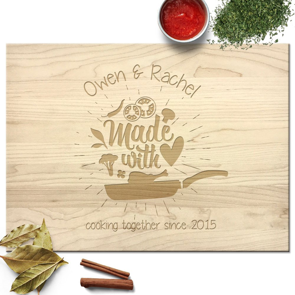 Froolu Made with Love wood block cutting board for Couples Christmas Gifts