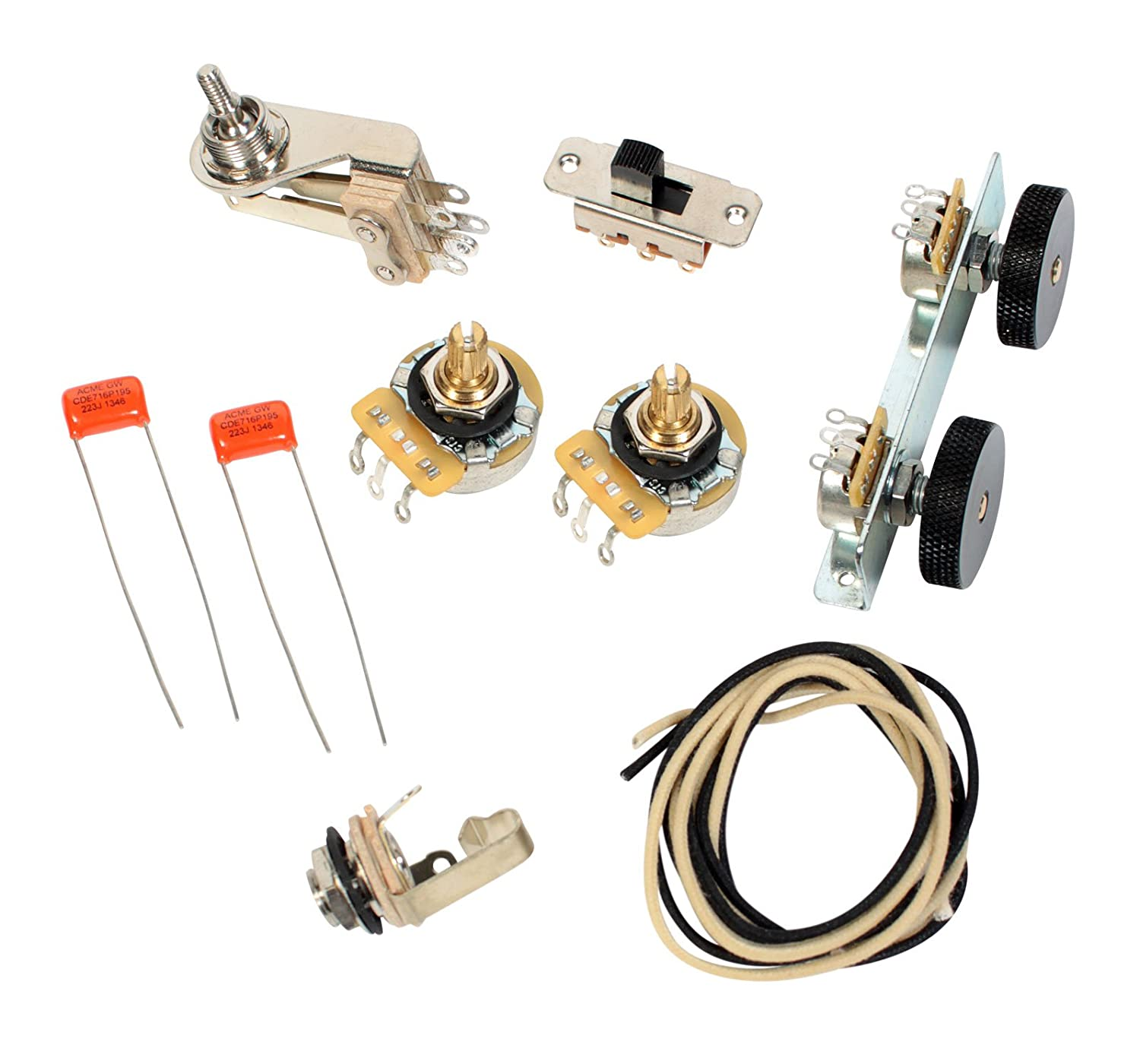 Amazon.com: Fender Vintage Jazzmaster Wiring Kit - Pots Switch Slider Caps  Bracket Diagram: Musical Instruments