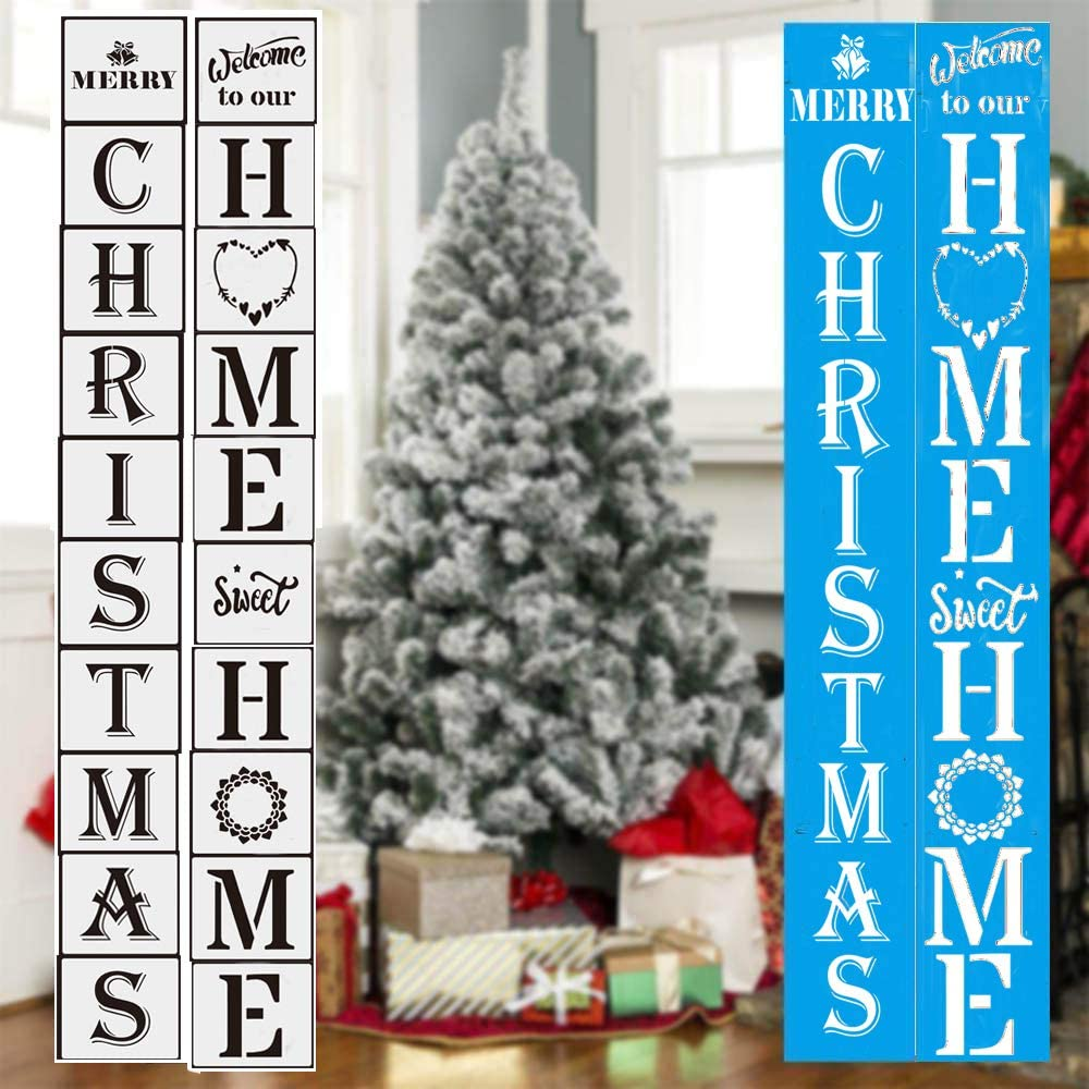 LYPER 20 PCS Large Christmas and Home Sign Stencils Set, Large Vertical Porch Sign Templates Reusable Scale Spraying Stencils Letter Xmas Template for Painting Spraying on Wood, Front Door Decorations