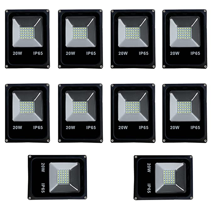 20W Led IP65 Flood Outdoor Light 1 year warranty - Cool Day Light - (pack of 10)