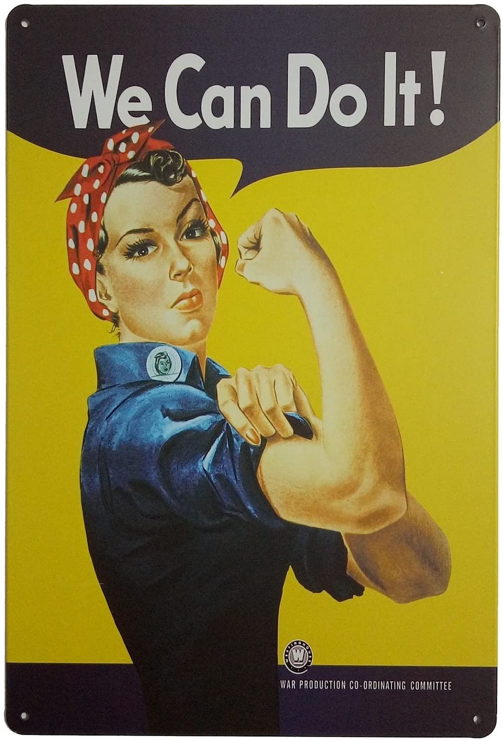 """ERLOOD Pin-up Girl We Can Do It Metal Retro Wall Decor Vintage Tin Signs 12"""" X 8"""" Inches"""