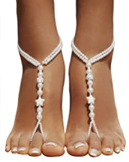 d5a18198970290 Bellady 2Pcs Pearl Ankle Chain Barefoot Sandals with Starfish Beach Wedding  Foot Jewelry
