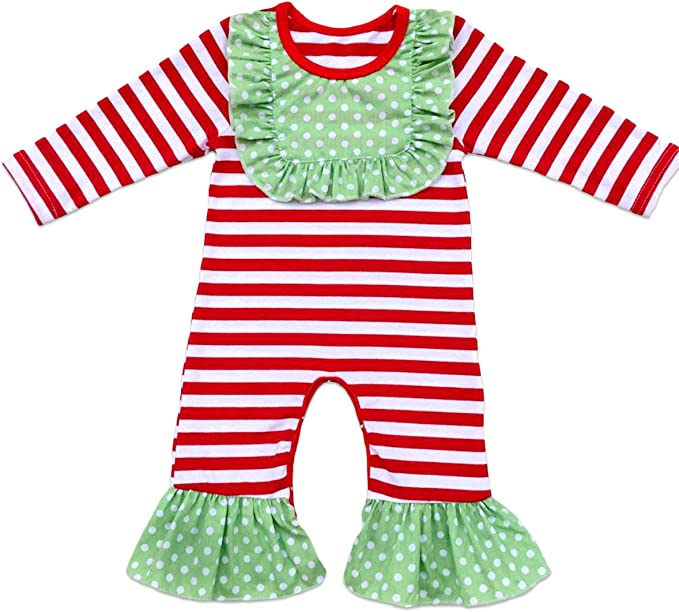 Toddler Baby Boy Girls Icing Ruffle Jumpsuit Pants Solid Christmas Romper Long Sleeve Pajamas Nightwear Birthday Outfit