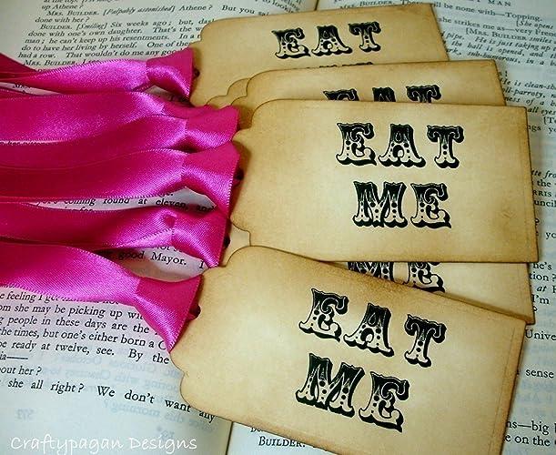 amazon com eat me tags alice in wonderland eat me labels candy jar