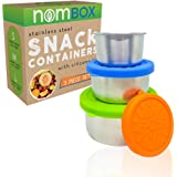 NomBox Food Storage Containers – Set of 3 Stainless Steel Kitchen Lunch/Snack Containers With Leak-proof Silicone Lids – Reusable & Washable – For Baby Food, Portion Control, Food Prep & Storing