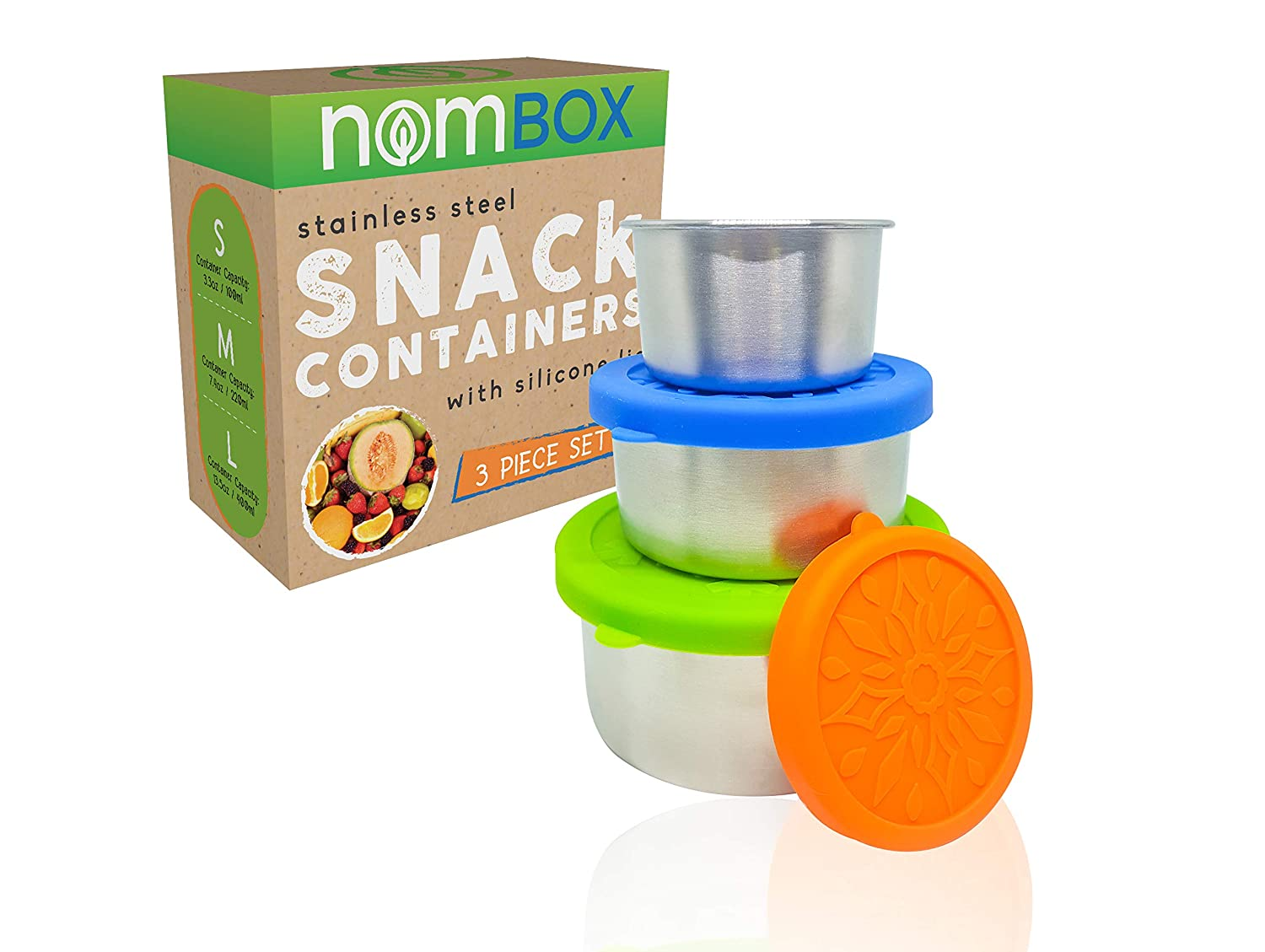 NomBox Stainless Steel Food Storage Containers – Set of 3 Kitchen Lunch/Snack Containers With Leak-proof Silicone Lids – Reusable & Washable – For Baby Food, Portion Control, Food Prep & Storing