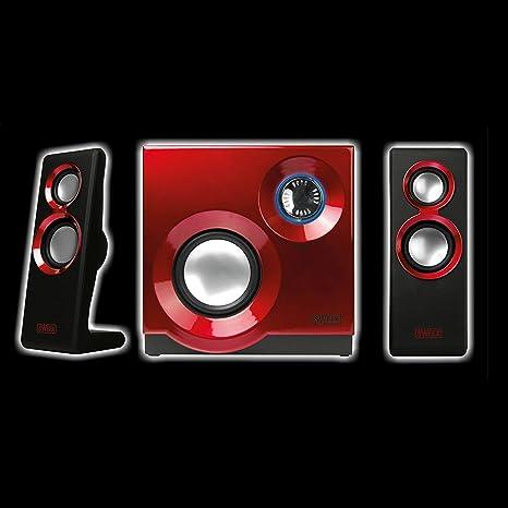 Eurosell – Designer Sistema de Sonido – Sistema de Altavoces 2.1 para televisor/PC Ordenador Portátil Gamer Gaming TV Box Cajas con Subwoofer Negro Rojo Sistema de Altavoces: Amazon.es: Informática