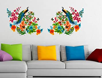 Buy Decals Design Peacock Birds on Branch Leaves Wall Sticker