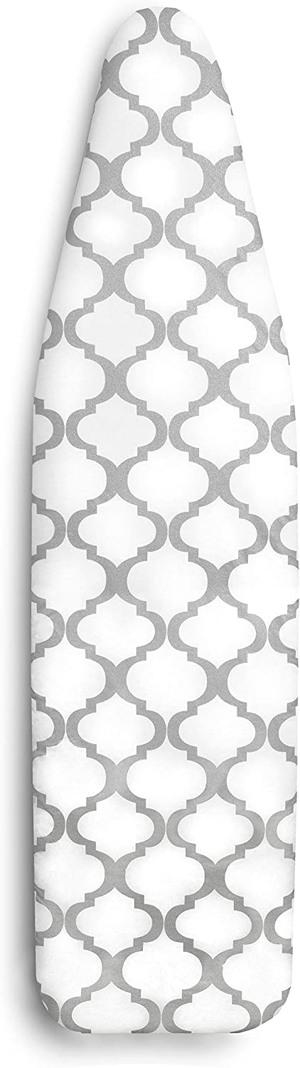 """Epica Silicone Coated Ironing Board Cover- Resists Scorching and Staining - 15""""x54"""" (Board not Included) (Lattice: White and Grey, 15""""x54"""")"""