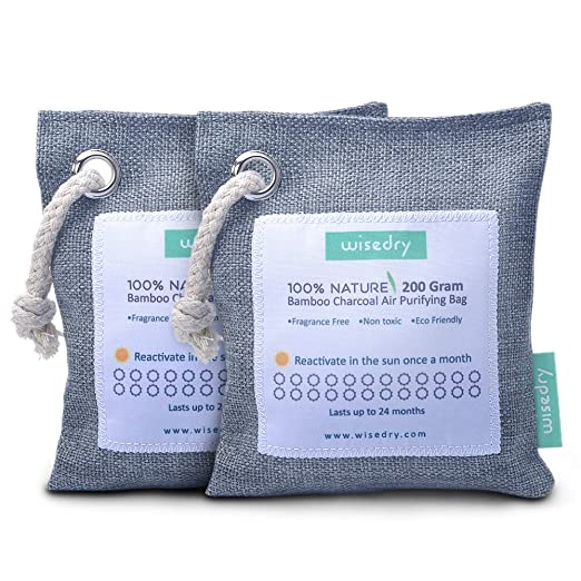 wisedry 200g x 2 Paquetes Bolsa Purificadora de Aire, Carbón Activado De Bambú, Ambientador Natural Eficaz y Desodorante para Eliminar los Olores De ...