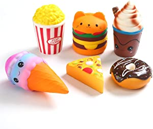 KINGYAO 6pcs Slow Rising squishies Squishy Toys Jumbo squishies, Hamburger Popcorn Cake Ice Cream Pizza Kawaii Squishy Toys or Stress Relief Squeeze Toys Party Favors for Kids Adults Decorative Props