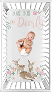 Sweet Jojo Designs Woodland Deer Floral Girl Fitted Crib Sheet Baby or Toddler Bed Nursery Photo Op - Blush Pink, Mint Green and White Boho Watercolor Love You Deerly