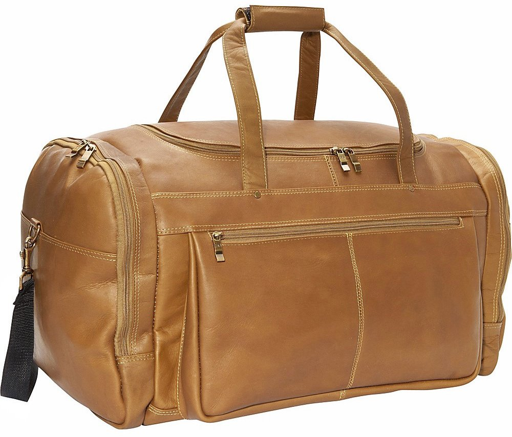 20'' Leather Travel Duffel Color: Tan by David King & Co