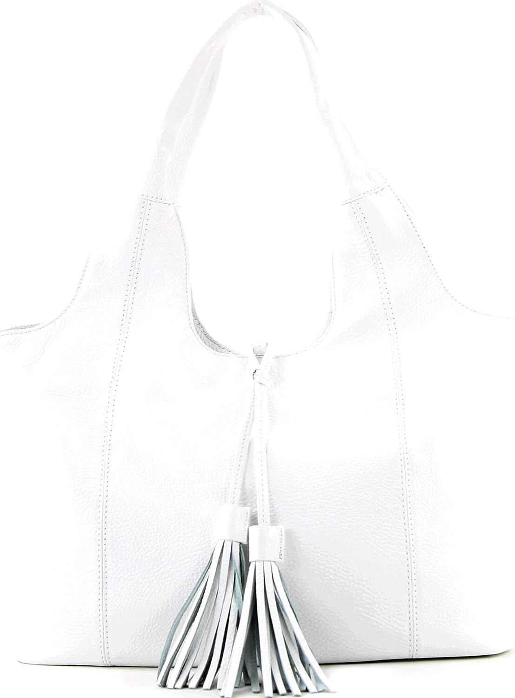 modamoda de - Italiani in pelle sacchetto della maniglia A4 / camoscio T105 Bianco