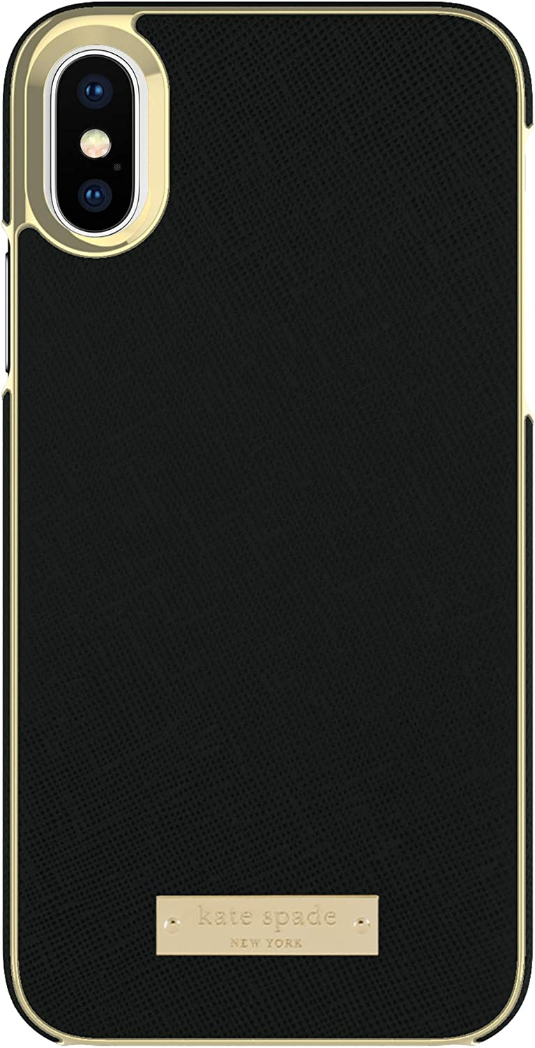 kate spade new york Wrap Case for iPhone XS & iPhone X - Saffiano Black/Gold Logo Plate