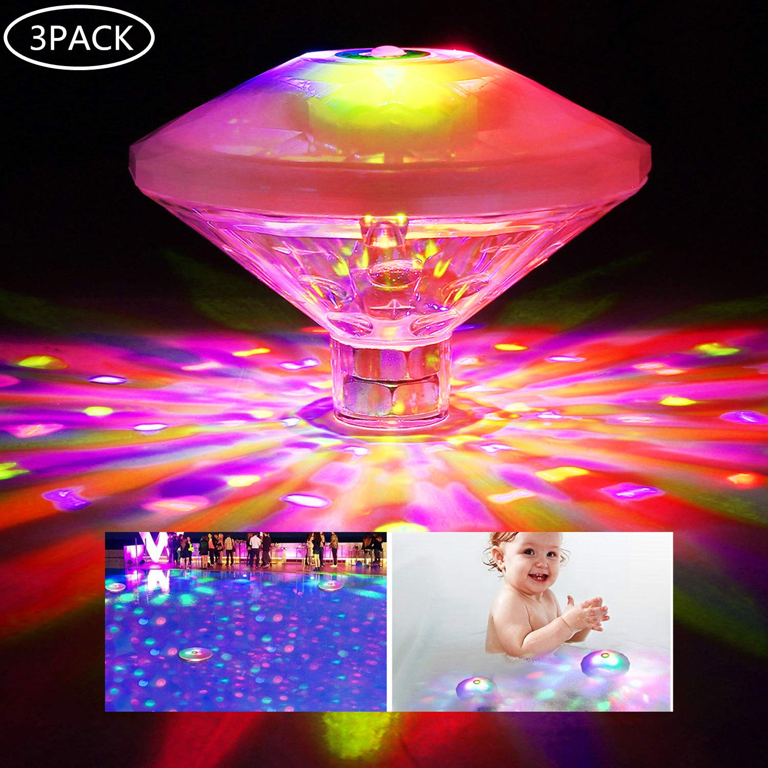 FTSTC Waterproof Swimming Baby Pool Lights - RGB, 7 Modes, Battery Operated Floating Pool Light Bulb Pool, Pond, Hot Tub Party Decorations (3PACK)